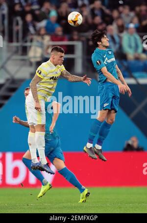 UEFA Europa League, 1/16 final. The match between 'Zenit' (St. Petersburg, Russia) - 'Fenerbahce' (Istanbul, Turkey) at the stadium Gazprom Arena. February 21, 2019. Russia, St.Petersbourg. Photo credit: Anatolii' Medved'/Kommersant/Sipa USA  Stock Photo