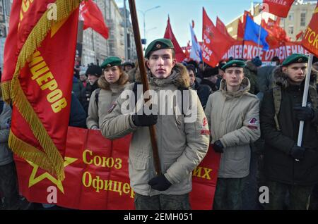 March and rally organized by the Communist Party (KPRF), dedicated to the 101st anniversary of the Soviet Army and Navy on the Revolution Square. Participants during the march. February 23, 2019. Russia, Moscow. Photo credit: Kristina Kormilicyna/Kommersant/Sipa USA  Stock Photo