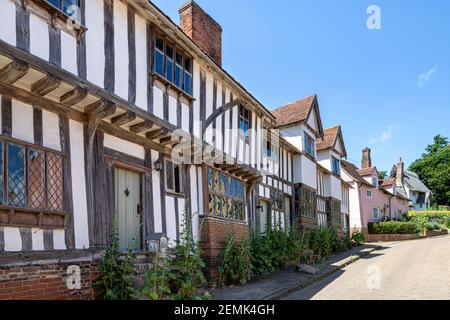 Half timbered buildings in the main street of the famous beautiful village of Kersey, Suffolk UK