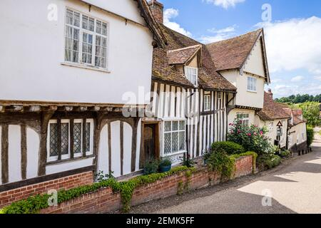 Lovely old half timbered and jettied houses in the famous pretty village of Kersey, Suffolk UK