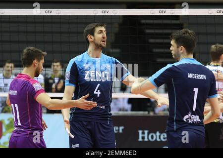 Gdansk, Poland March, 13th. 2019 Trefl Gdansk (Poland) v Zenit Kazan (Russia) CEV Champions League Men - Quarter Finals volleyball game. ARTEM VOLOVICH (4) of Zenit-Kazan is seen (Photo by Vadim Pacajev/Sipa USA) Stock Photo