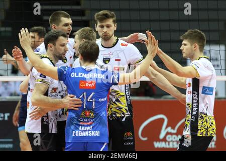 Gdansk, Poland March, 13th. 2019 Trefl Gdansk (Poland) v Zenit Kazan (Russia) CEV Champions League Men - Quarter Finals volleyball game. Polish team reacting is seen (Photo by Vadim Pacajev/Sipa USA) Stock Photo