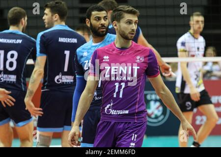 Gdansk, Poland March, 13th. 2019 Trefl Gdansk (Poland) v Zenit Kazan (Russia) CEV Champions League Men - Quarter Finals volleyball game. VALENTIN KROTKOV (11) of Zenit-Kazan is seen (Photo by Vadim Pacajev/Sipa USA)  Stock Photo