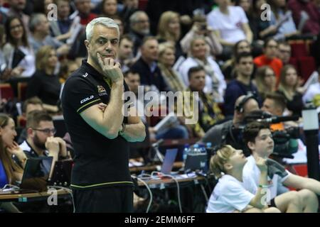 Gdansk, Poland March, 13th. 2019 Trefl Gdansk (Poland) v Zenit Kazan (Russia) CEV Champions League Men - Quarter Finals volleyball game. ANDREA ANASTASI he'd coach of Trefl Gdansk is seen (Photo by Vadim Pacajev/Sipa USA)  Stock Photo