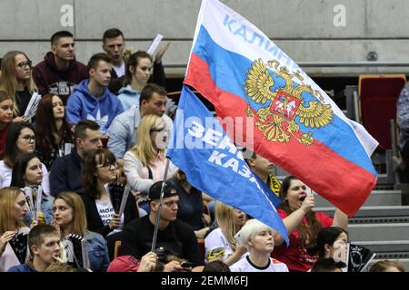 Gdansk, Poland March, 13th. 2019 Trefl Gdansk (Poland) v Zenit Kazan (Russia) CEV Champions League Men - Quarter Finals volleyball game. Zenit Kazan fans with Russian Federation are seen (Photo by Vadim Pacajev/Sipa USA)  Stock Photo