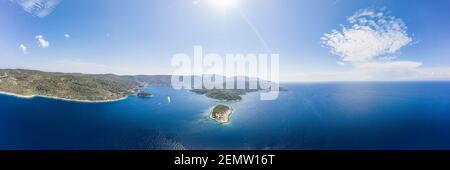 Aerial panoramic view of Host Island in Adriatic sea near town port of Vis Island in Croatia summer