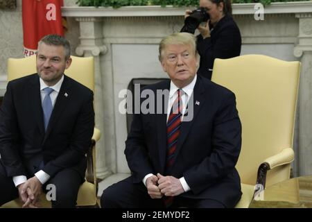 US President Donald J. Trump meets with Prime Minister Peter Pellegrini of the Slovak Republic in the Oval Office of the White House in Washington, DC, 03 May 2019. (Photo by Yuri Gripas/Pool/Sipa USA)