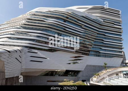 Hong Kong,China:02 Nov,2020.  The Zaha Hadid designed Jockey Club Innovation Tower Polytechnic University. The campus as the site of the siege of the