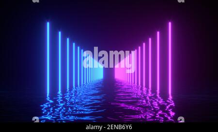 Glowing neon lines with reflections in water surface. Abstract background, waves, ultraviolet, spectrum vibrant colors, laser show. 3d render illustra
