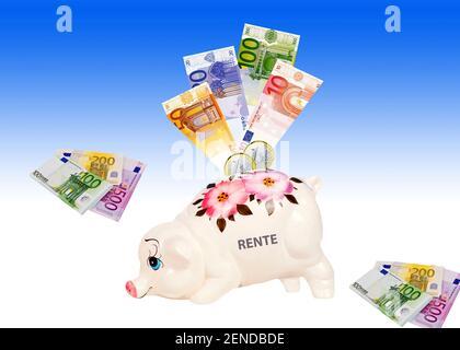 Sparschwein mit Euro Banknoten und Münzen, Sparen für die Rente, - Stock Photo