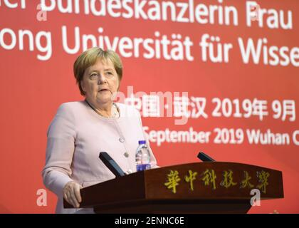 German chancellor Angela Merkel gives a speech at the Wuhan University of Science and Technology in Wuhan city, central China's Hubei province, 7 September 2019. (Photo by Zhang Kanlong - Imaginechina/Sipa USA)