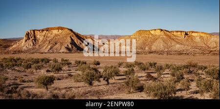 Wide landscape of the Tabernas desert Almeria Spain Nature Adventure Travel Europa