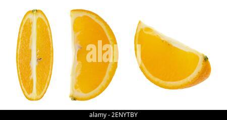 Set of orange fruit. Whole, half and sliced orange isolated on white background.