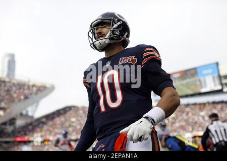 Chicago Bears quarterback Mitch Trubisky during Sunday's game against New York Giants on Nov. 24th, 2019 at Soldier Field in Chicago. (Photo by Brian Cassella/Chicago Tribune/TNS/Sipa USA) Stock Photo
