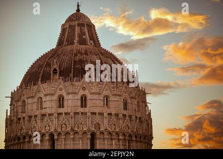 with Baptistery of San Giovanni in Pisa, Italy. Stock Photo