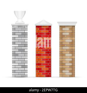 Brick fence posts with caps. 3D vector illustration isolated on white. - Stock Photo