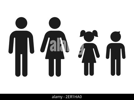 Man and woman, girl and boy gender icons. Simple figure family, male and female adults and children. Vector symbols set. - Stock Photo