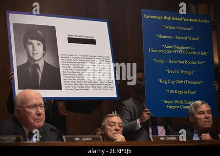 Extracts of his high school yearbook are displayed as Supreme Court nominee Brett Kavanaugh testifies before the US Senate Judiciary Committee on Capitol Hill in Washington, DC, September 27, 2018. (Photo by SAUL LOEB/Pool/Sipa USA)