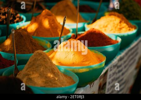 Close View Of Masala Curry, Bright Colors Fragrant Seasoning, Condiment In Tray On Local Food Market, Bazaar