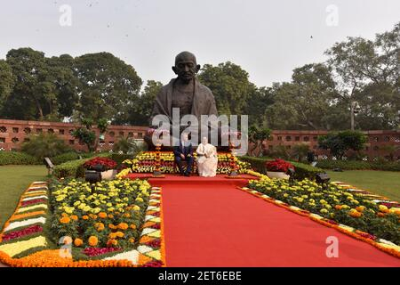 NEW DELHI, INDIA – DECEMBER 10: Lok Sabha Speaker Sumitra Mahajan along with Chairman of the Russian State Duma, Vyacheslav Volodin during the joint press conference in front of Mahatma Gandhi Statue at Parliament House, on December 10, 2018 in New Delhi, India. Indian Parliament and Parliamentary delegation from Russian Federation decided to enhance 'parliamentary diplomacy' between two countries and ensure strategic cooperation, military and security cooperation in multiple sectors. (Photo by Sanjeev Verma/Hindustan Times/Sipa USA )