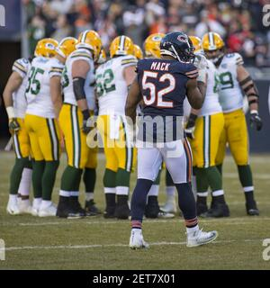 December 16, 2018: Chicago, Illinois, U.S. - Bears #52 Khalil Mack takes a break during the NFL Game between the Green Bay Packers and Chicago Bears at Soldier Field in Chicago, IL. Photographer: Mike Wulf(Credit Image: © Mike Wulf/CSM/Sipa USA)