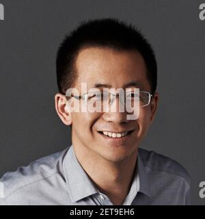--FILE--Zhang Yiming, founder and CEO of tech company Bytedance, owner of Chinese personalized news aggregator Jinri Toutiao and short video platform TikTok (Douyin), poses for a portrait in Beijing, China, 29 January 2018. ByteDance founder and CEO Zhang Yiming ranks the 10th on 2019 Forbes China Rich List. (Photo by Stringer - Imaginechina/Sipa USA) Stock Photo