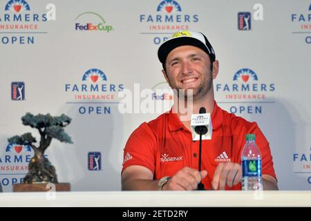 Jan 29, 2017; La Jolla, CA, USA; Jon Rahm speaks to the media following his win at the Farmers Insurance Open golf tournament at Torrey Pines Municipal Golf Course - South Co. Mandatory Credit: Orlando Ramirez-USA TODAY Sports *** Please Use Credit from Credit Field ***
