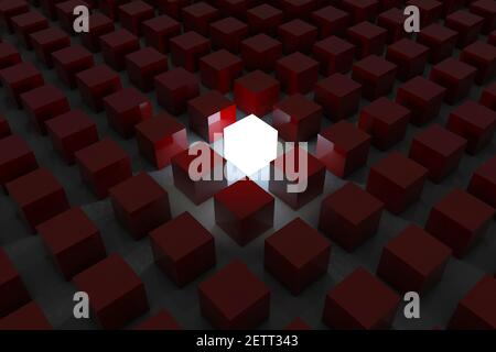 Stand out from the crowd and different creative idea concepts , One glowing light cube shining among other dim cubes in the dark night background with