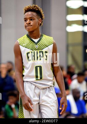 LeBron James Jr. during youth tournament action at the Charlotte Convention Center in Charlotte, N.C., on Friday, July 21, 2017. (Photo by Jeff Siner/Charlotte Observer/TNS) *** Please Use Credit from Credit Field ***