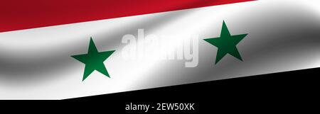 Banner with the flag of Syria. Fabric texture of the flag of Syria. - Stock Photo
