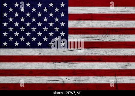 Flag of United States. Wooden texture of the flag of United States.