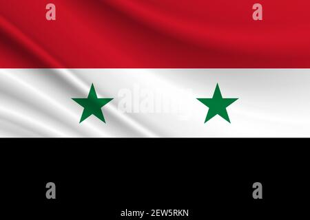 Flag of Syria. Fabric texture of the flag of Syria. - Stock Photo