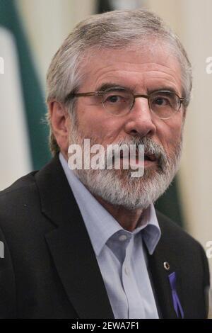 Sinn Fein's Gerry Adams at the 'Toward A United Ireland' public meeting in Wynns Hotel in Dublin, the same evening as the resignation of Tanaiste Frances Fitzgerald. On Tuesday, 28 November 2017, in Dublin, Ireland. Photo by Artur Widak