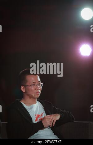 --FILE--Zhang Yiming, founder and CEO of tech company Bytedance, owner of Chinese personalized news aggregator Jinri Toutiao and short video platform TikTok (Douyin), attends the 5th anniversary celebration event in Beijing, China, 10 March 2018. Tech company ByteDance founder and CEO Zhang Yiming ranks the 10th on 2019 Forbes China Rich List. (Photo by Stringer - Imaginechina/Sipa USA) Stock Photo