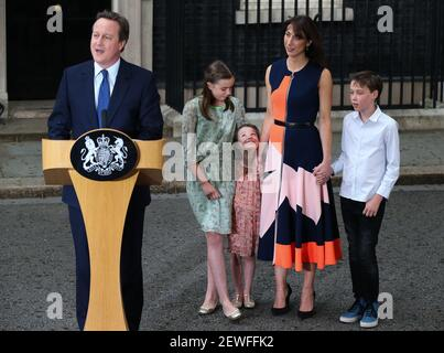 Britain's Prime Minister David Cameron gives a speech before leaving 10 Downing Street in London, Britain on July 13, 2016. (Xinhua/Han Yan)  (Photo by Xinhua/Sipa USA) Stock Photo