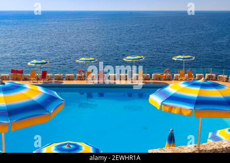 swimming pool near sea in Zinzulusa, Castro, Province Lecce, Italy. - Stock Photo