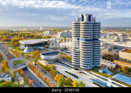 Munich München skyline aerial view photo town building architecture travel in Germany. - Stock Photo