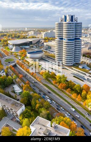 Munich München skyline aerial view photo town building architecture travel portrait format in Germany. - Stock Photo