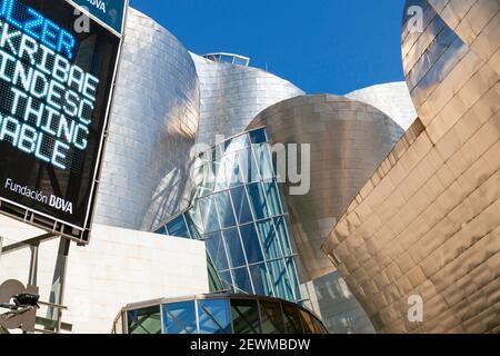 Europe, Spain, Basque Country, Bilbao, Guggenheim Museum Bilbao showing Main Entrance (Detail). - Stock Photo
