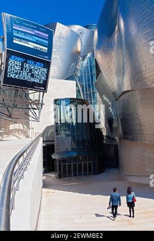 Europe, Spain, Basque Country, Bilbao, Guggenheim Museum Bilbao showing Main Entrance. - Stock Photo