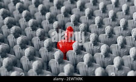 One Red standing Men screaming among Large Crowd grey people. 3d rendering