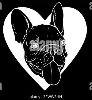 silhouette Cute puppy pug on a black background wants to play