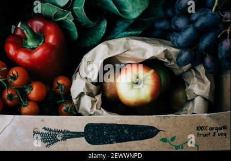 fresh organic fruit and vegetables in a recyclable box freshly picked Stock Photo