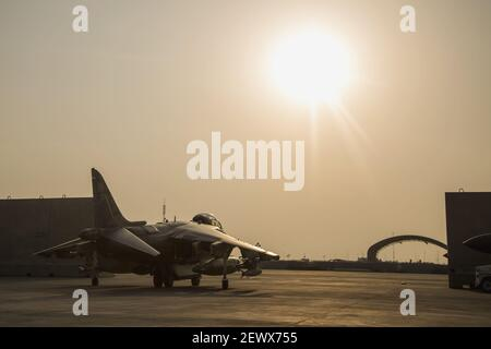 A U.S. Marine Corps AV-8B Harrier with Marine Attack Squadron 223 (VMA-223), Special Purpose Marine Air-Ground Task Force-Crisis Response-Central Command, taxis the flight line at Isa Air Base, Bahrain, Dec. 31, 2015. VMA-223 supports Operation Inherent Resolve by providing airstrikes and close air support in the U.S. Central Command area of responsibility. (Photo by Cpl. Akeel Austin/U.S. Marine Corps)  Stock Photo