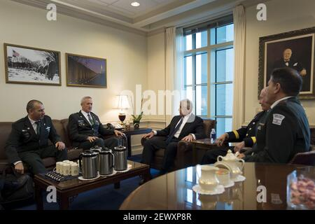 Secretary of Defense Chuck Hagel (center) meets with LTG Binyamin 'Benny' Gantz (second from left), Chief of Defense of Israel at the Pentagon to discuss matters of mutual importance, Jan. 8, 2015. (Photo by Master Sgt. Adrian Cadiz/DoD) *** Please Use Credit from Credit Field ***