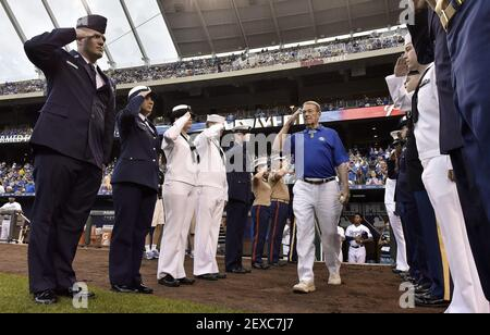 Medal of Honor recipient and retired U.S. Army Colonel, Roger Donlon, from Leavenworth, Kan., is honored as he enters the field to throw out the first pitch before Monday's baseball game between the Kansas City Royals and Minnesota Twins on Sept. 7, 2015 at Kauffman Stadium in Kansas City, Mo. (Photo by John Sleezer/Kansas City Star/TNS) *** Please Use Credit from Credit Field ***
