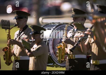The 1st Marine Division Band plays music before the start of 3rd Battalion, 4th Marines, 7th Marine Regiment's reactivation ceremony at Lance Cpl. Torrey L. Gray Field, Sept. 17, 2015. (Photo by U.S. Marine Corps) *** Please Use Credit from Credit Field ***