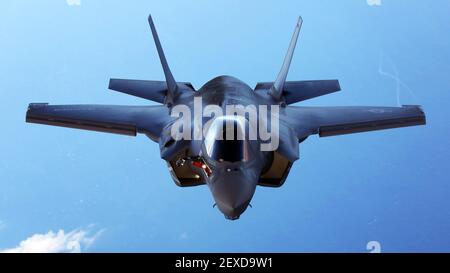 An F-35B joint strike fighter jet conducts aerial maneuvers during aerial refueling training over the Atlantic Ocean, Aug. 13, 2015. The mission of Marine Fighter Attack Training Squadron 501 is to conduct effective training and operations in the F-35B in coordination with joint and coalition partners in order to successfully attain the annual pilot training requirement. (Photo by Cpl. N.W. Huertas/U.S. Marine Corps) *** Please Use Credit from Credit Field ***