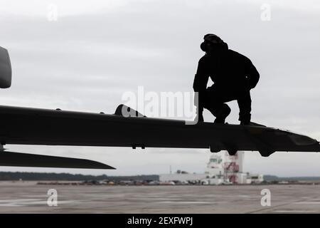 Cpl. Marvin M. Ernest, a power plant mechanic assigned to Marine Tactical Electronic Squadron 2, performs a turn-around inspection on an EA-6B Prowler on Marine Corps Air Station Cherry Point, North Carolina, Dec. 1, 2015. (Photo by Lance Cpl. Jered T. Stone/U.S. Marine Corps) *** Please Use Credit from Credit Field ***