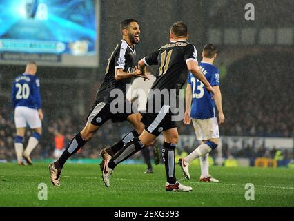 Dec. 19, 2015 - Liverpool, United Kingdom - Riyad Mahrez of Leicester City celebrates scoring his goal to make it 2-1.- Barclays Premier League - Everton vs Leicester City - Goodison Park - Liverpool - England - 19th December 2015 - Pic Robin Parker/Sportimage/Cal Sport Media. *** Please Use Credit from Credit Field ***